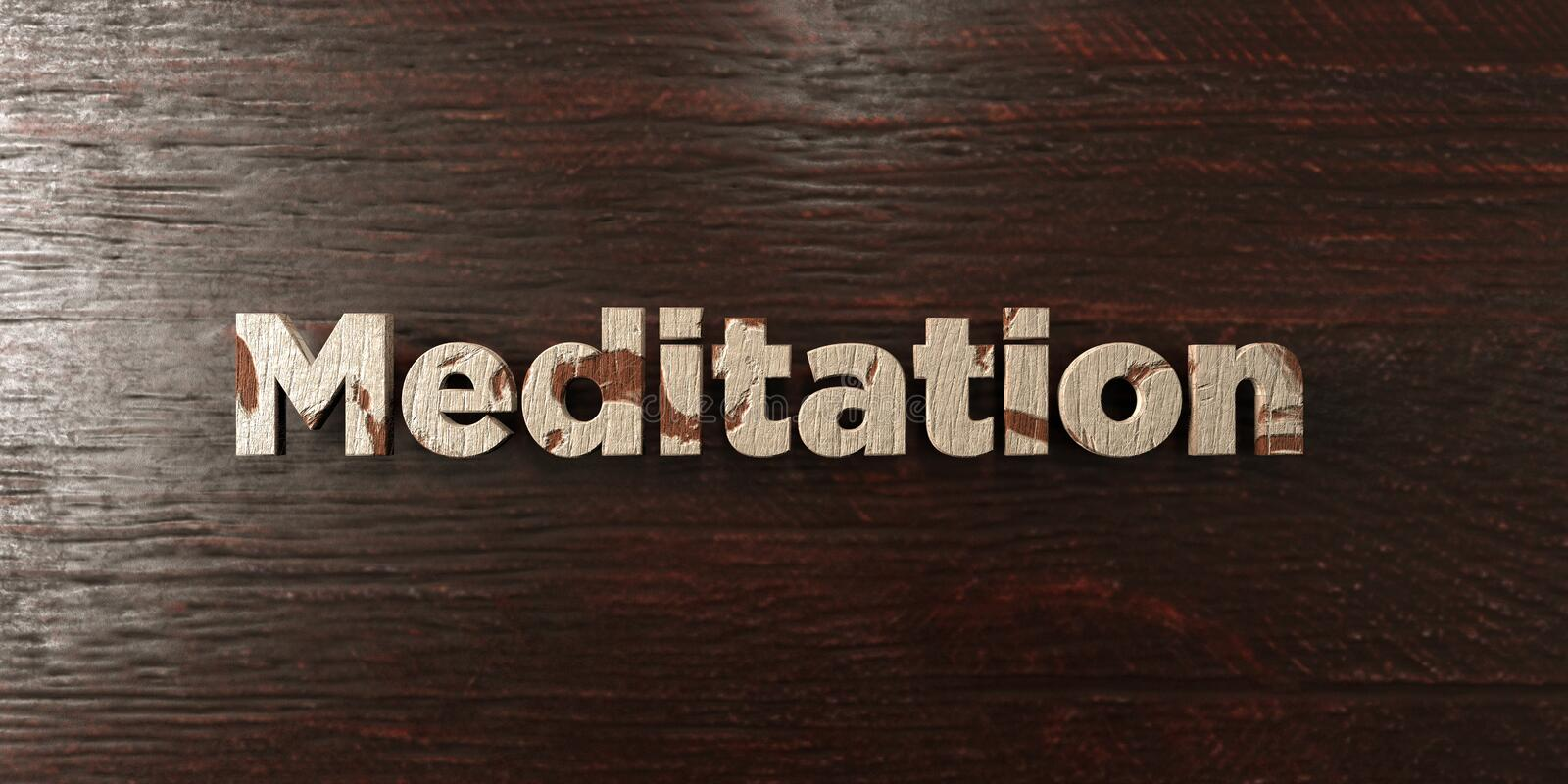 Meditation - grungy wooden headline on Maple - 3D rendered royalty free stock image. This image can be used for an online website banner ad or a print postcard royalty free illustration