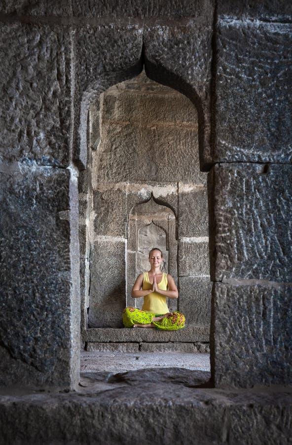 Meditation in Hampi stock image