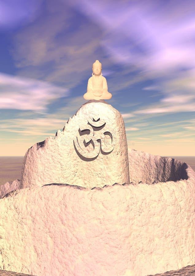 Meditation upon a hill stock illustration