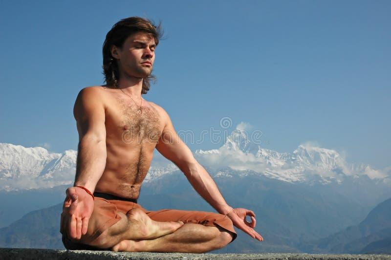Meditation in Himalayas royalty free stock photography