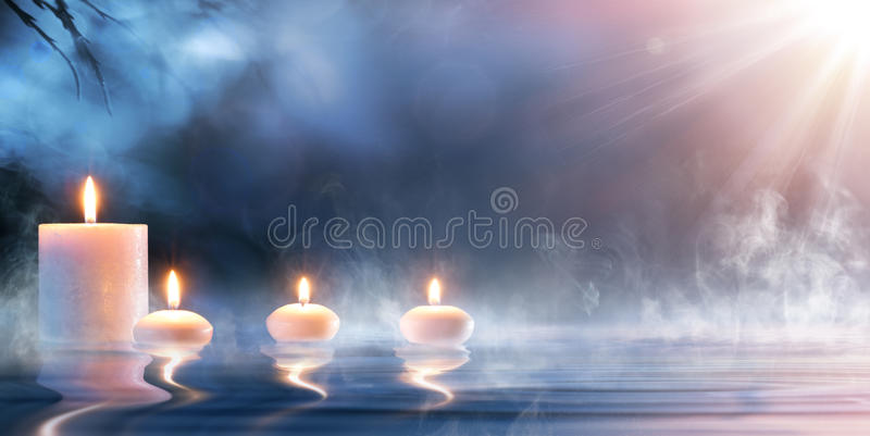 Meditation i andliga Zen Scenery arkivbild