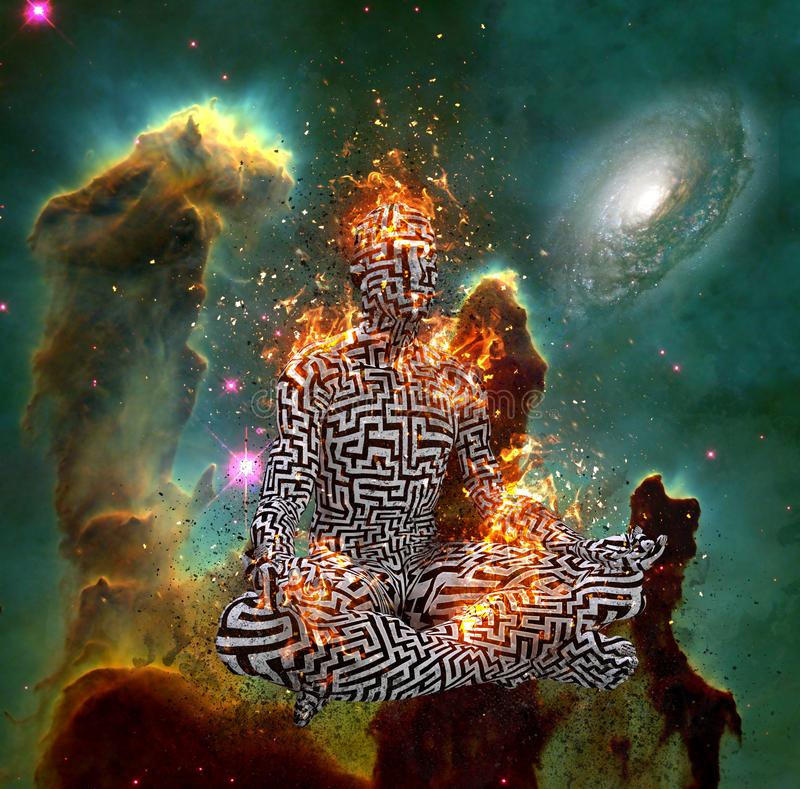 Meditation i djupt utrymme vektor illustrationer