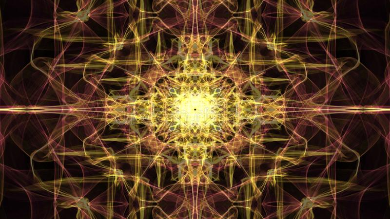 Meditation mandala in gold, live fractal patterns, video tunnel on black background. Animated symmetric ornament for stock illustration