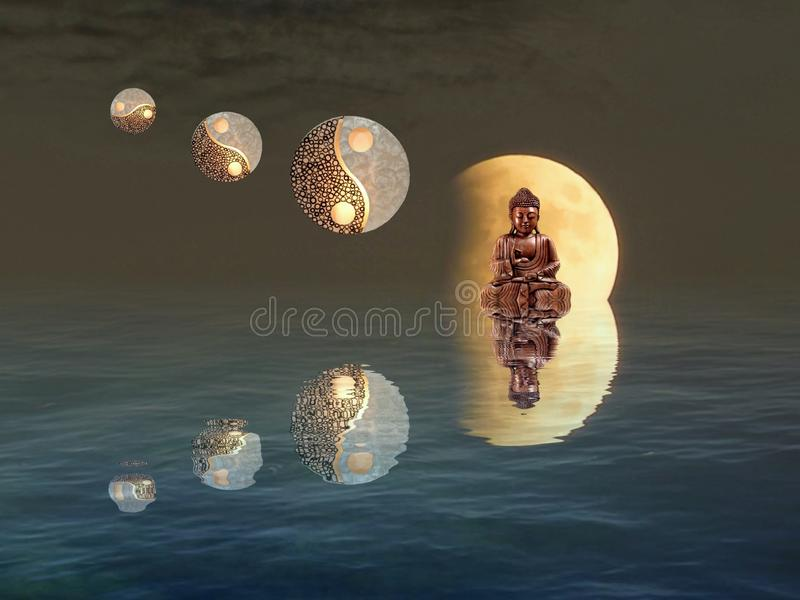 Meditation with moonlight and yin-yang. Budha, spiritual, zen, relax, night, outdoors, water, refllection, statue, photoart, dark, color, blue, yellow, white royalty free stock image