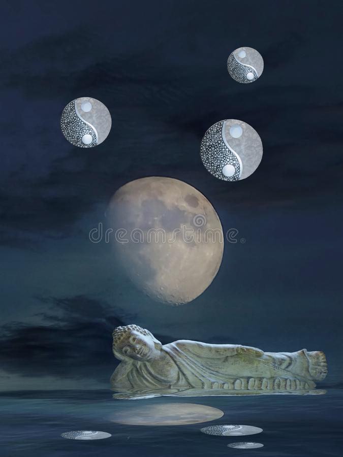 Meditation with moonlight and yin-yang. Budha, spiritual, zen, relax, night, outdoors, water, refllection, statue, photoart, dark, color, blue, yellow, white stock images