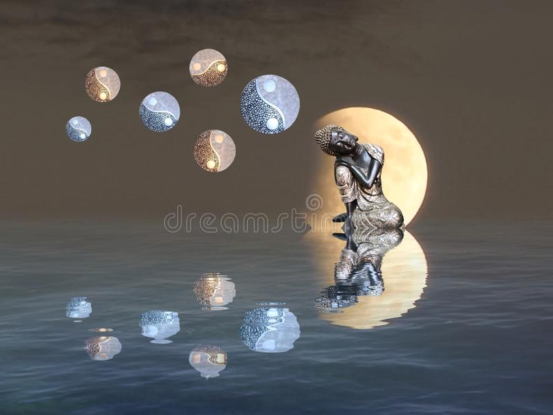 Meditation with moonlight and yin-yang. Budha, spiritual, zen, relax, night, outdoors, water, refllection, statue, photoart, dark, color, blue, yellow, white royalty free stock photo