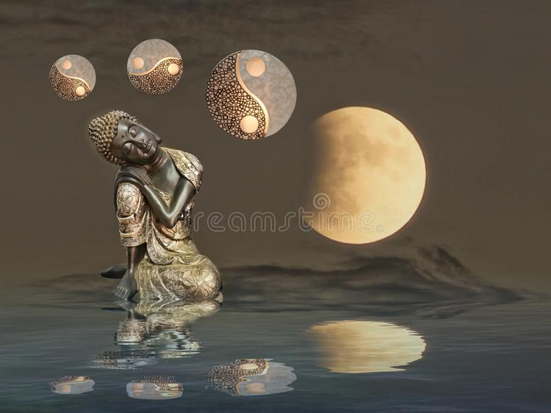 Meditation with moonlight and yin-yang. Budha, spiritual, zen, relax, night, outdoors, water, refllection, statue, photoart, dark, color, blue, yellow, white royalty free stock photos