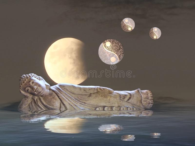 Meditation with moonlight and yin-yang. Budha, spiritual, zen, relax, night, outdoors, water, refllection, statue, photoart, dark, color, blue, yellow, white stock photos
