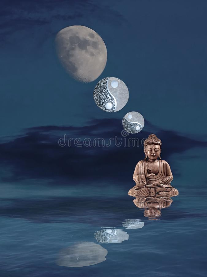 Meditation with moonlight and yin-yang. Budha, spiritual, zen, relax, night, outdoors, water, refllection, statue, photoart, dark, color, blue, yellow, white stock photo