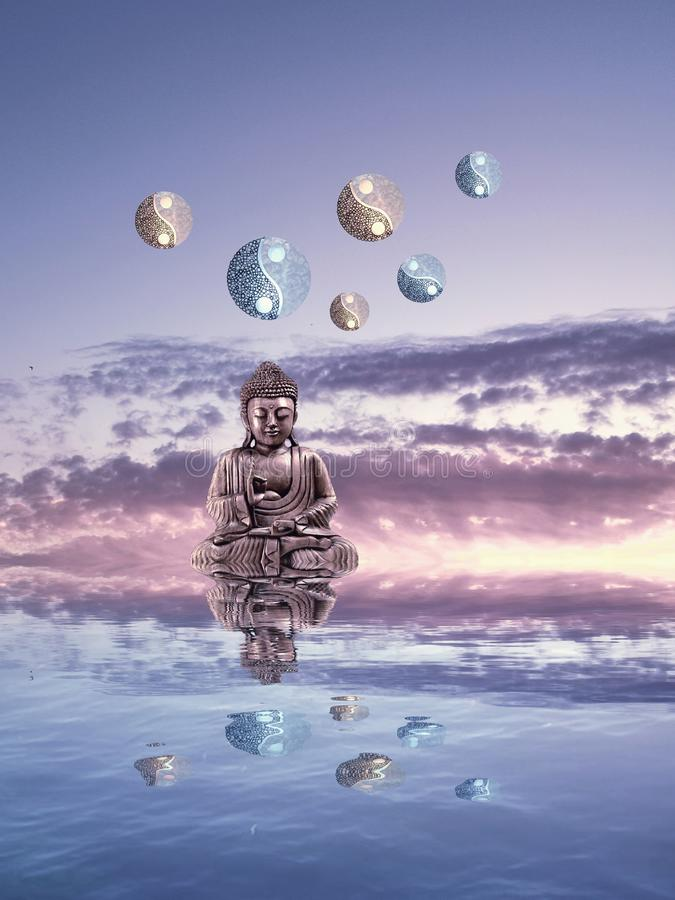 Meditation with moonlight and yin-yang. Budha, spiritual, zen, relax, night, outdoors, water, refllection, statue, photoart, dark, color, blue, yellow, white royalty free stock images