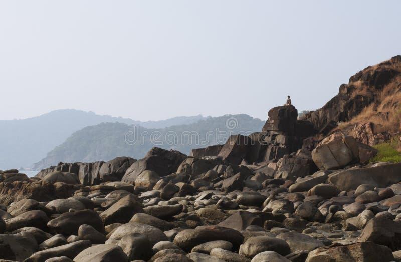 Meditation on the mountain - Stock Image stock image