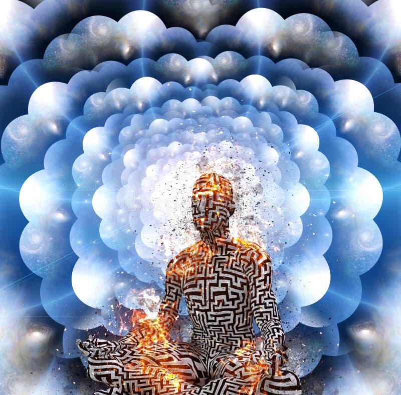 meditation Multi überlagerte Räume stock abbildung