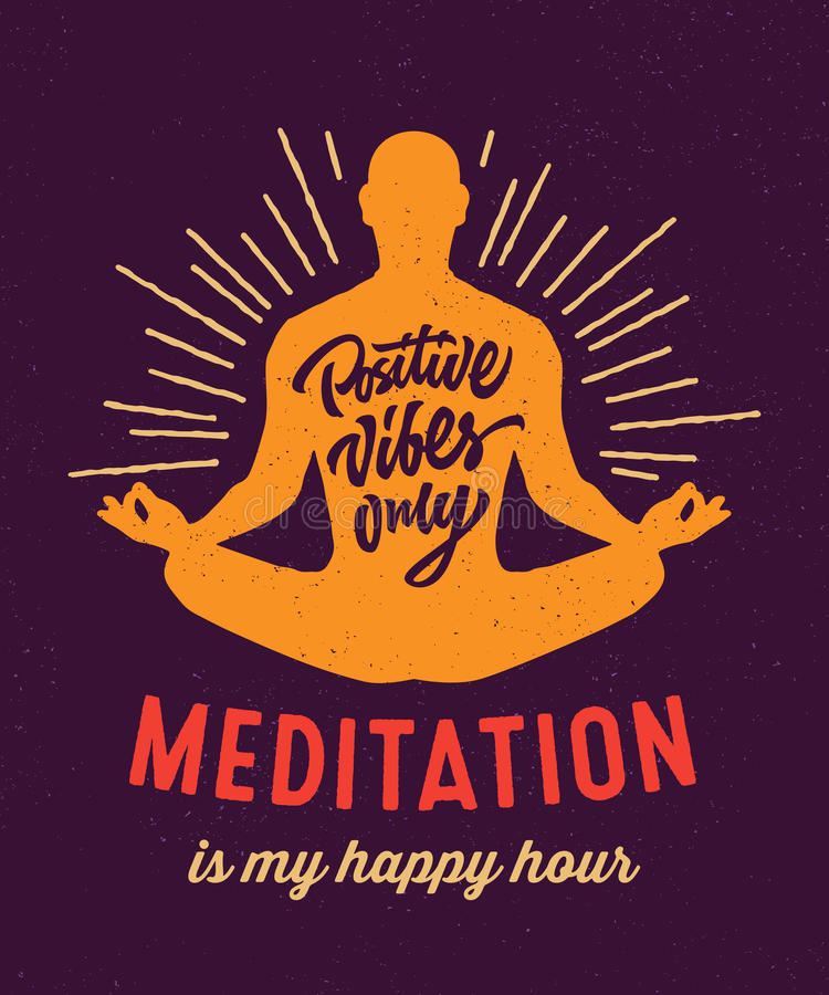 Meditation is my happy hour t-shirt design royalty free stock image