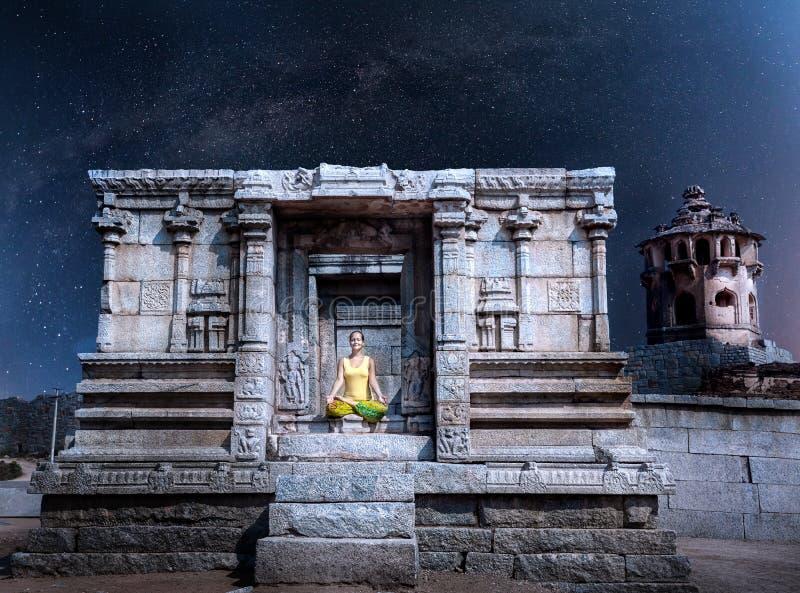 Meditation at night in Hampi stock images