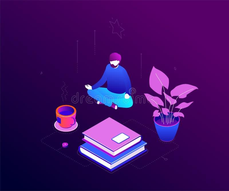 Meditation på arbete - modern färgrik isometrisk vektorillustration vektor illustrationer