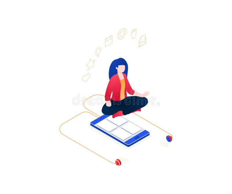 Meditation på arbete - modern färgrik isometrisk vektorillustration royaltyfri illustrationer