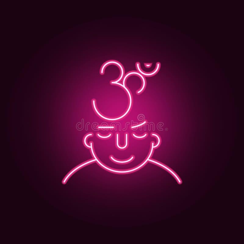 meditation på meningssymbol Beståndsdelar av vad är i din mening i neonstilsymboler Enkel symbol för websites, rengöringsdukdesig royaltyfri illustrationer