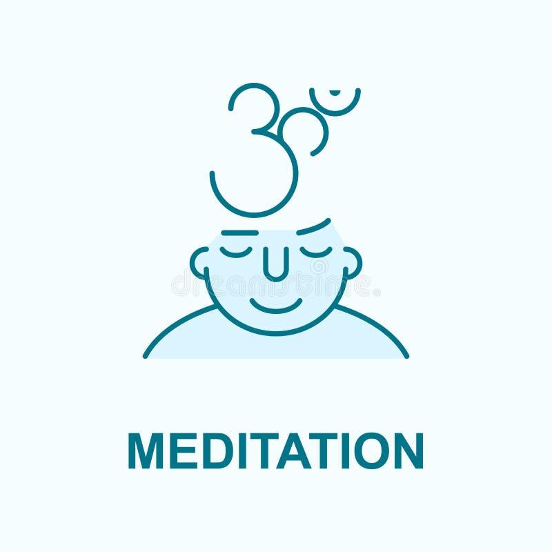 Meditation på symbol för meningsfältöversikt royaltyfri illustrationer