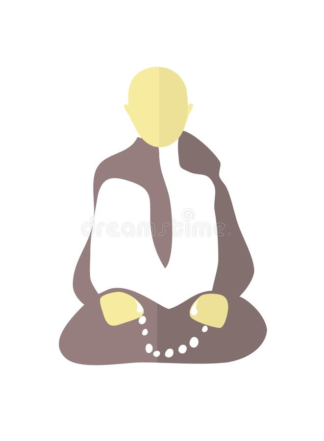 Meditation.Peaceful mind concept.Sitting buddhist monk with beads in his hands. Minimalist primitive  vector illustration.Flat st stock illustration