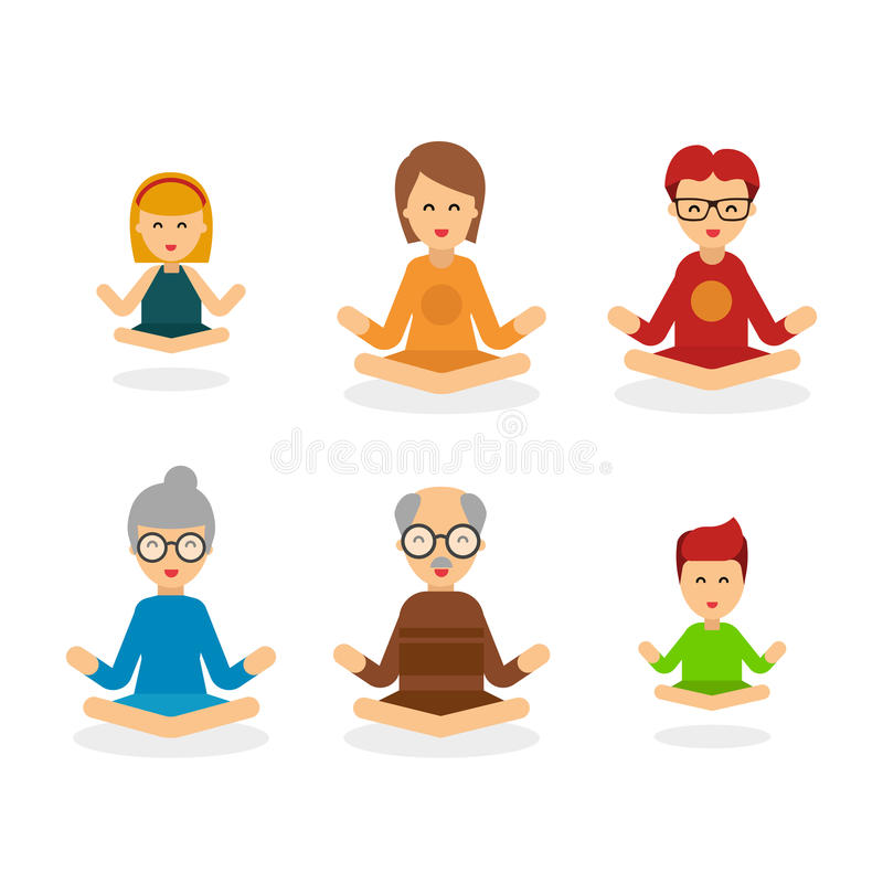 Meditation people cartoon character isolated on white background, people vector flat illustration. Happy family meditate royalty free illustration