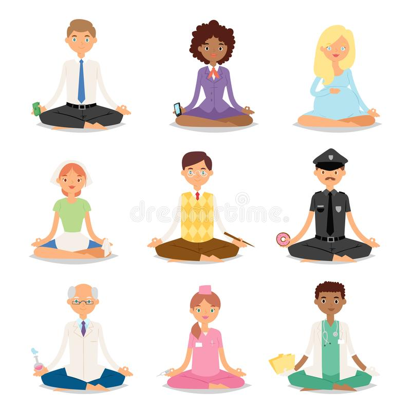 Meditation yoga people relaxation procedure different professions healthy lifestyle characters vector illustration. stock illustration