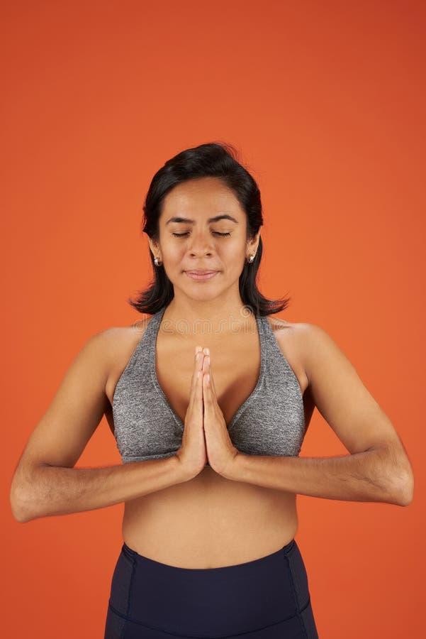 Meditation pose in yoga royalty free stock photos