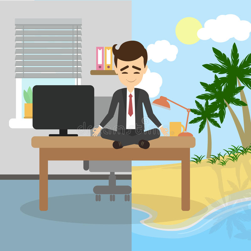 Meditation and relaxing. royalty free illustration
