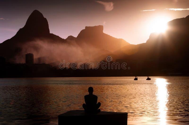 Meditation in Rio de janeiro royalty free stock images
