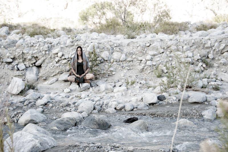 Meditation River Journey Woman zdjęcie royalty free