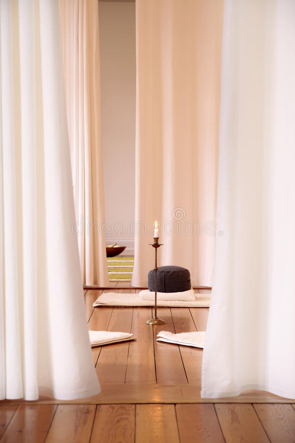 Meditation room with white curtains stock photography