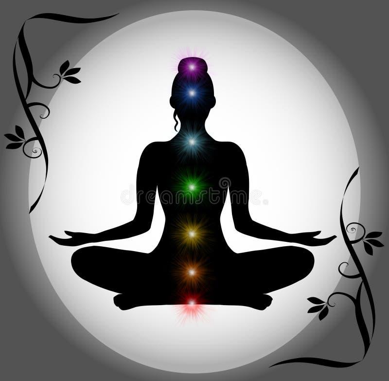 Meditation-Schattenbild mit Chakra Punkten lizenzfreie stockfotografie
