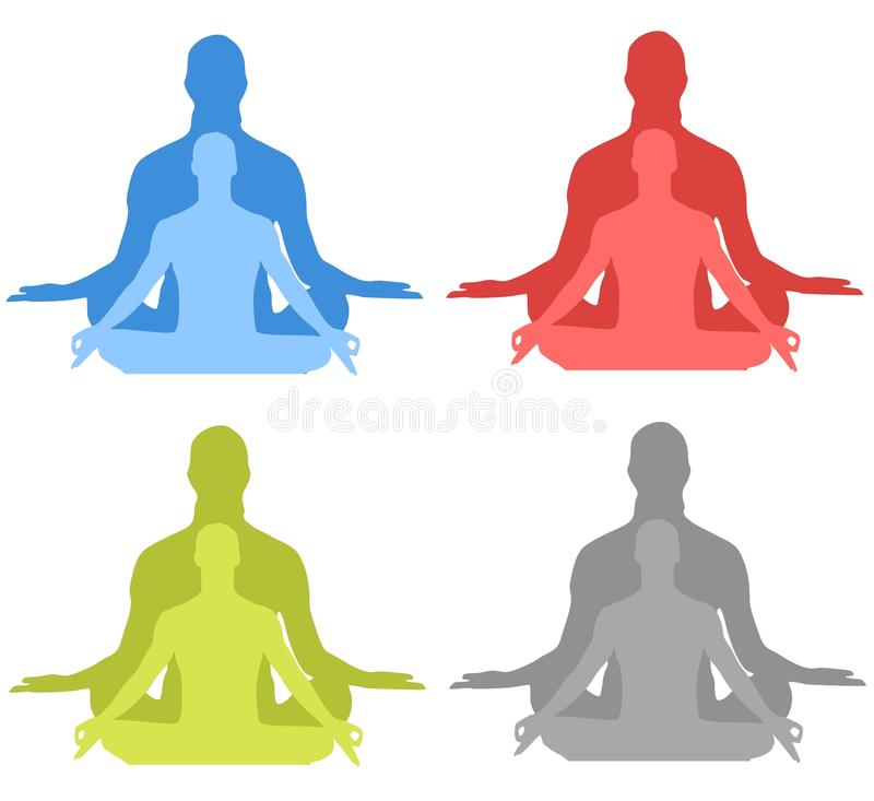 Meditation Silhouettes. An illustration featuring your choice of colorfl mediation / yoga silhouettes stock illustration