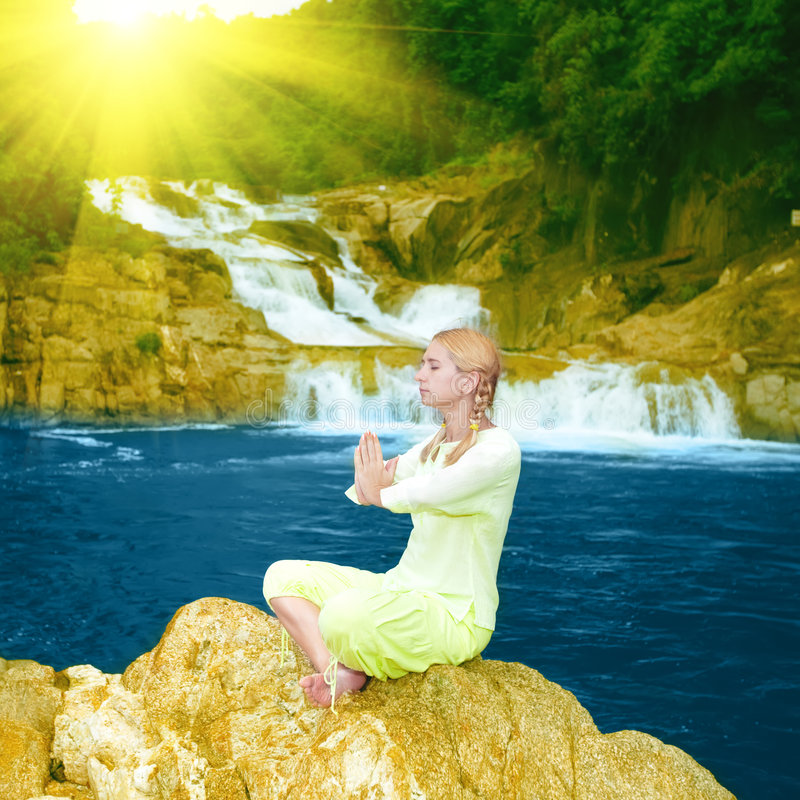 Download Meditation at sunrise time stock photo. Image of fitness - 9167748
