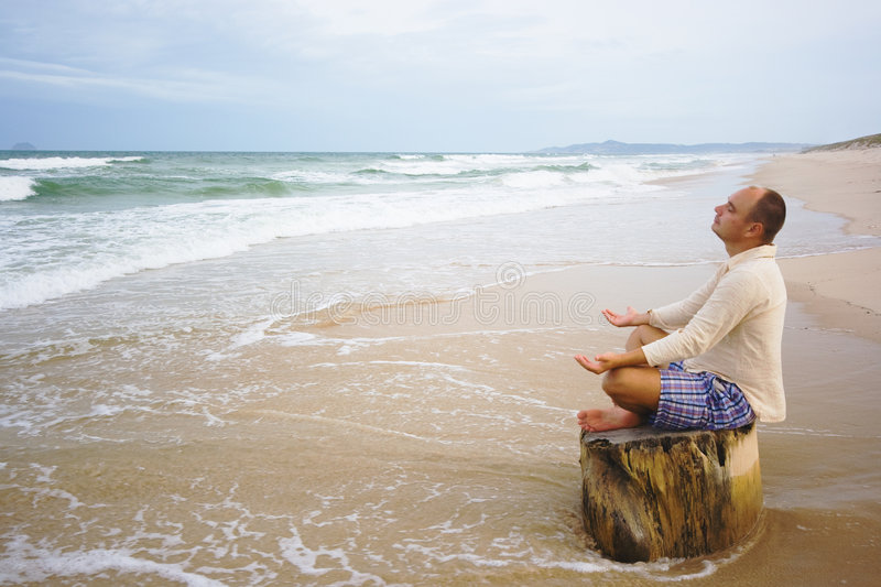 Download Meditation at sunset time stock photo. Image of river - 7308068
