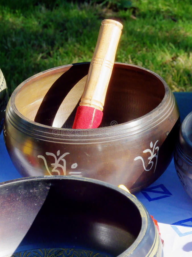 For Meditation, Only. Tibetan Buddhist Singing Bowl, used for meditation, music and relaxation royalty free stock photography