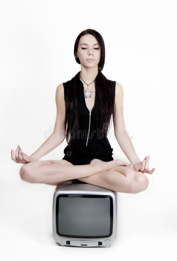 Download Meditation on TV stock image. Image of closed, eyes, woman - 16589469