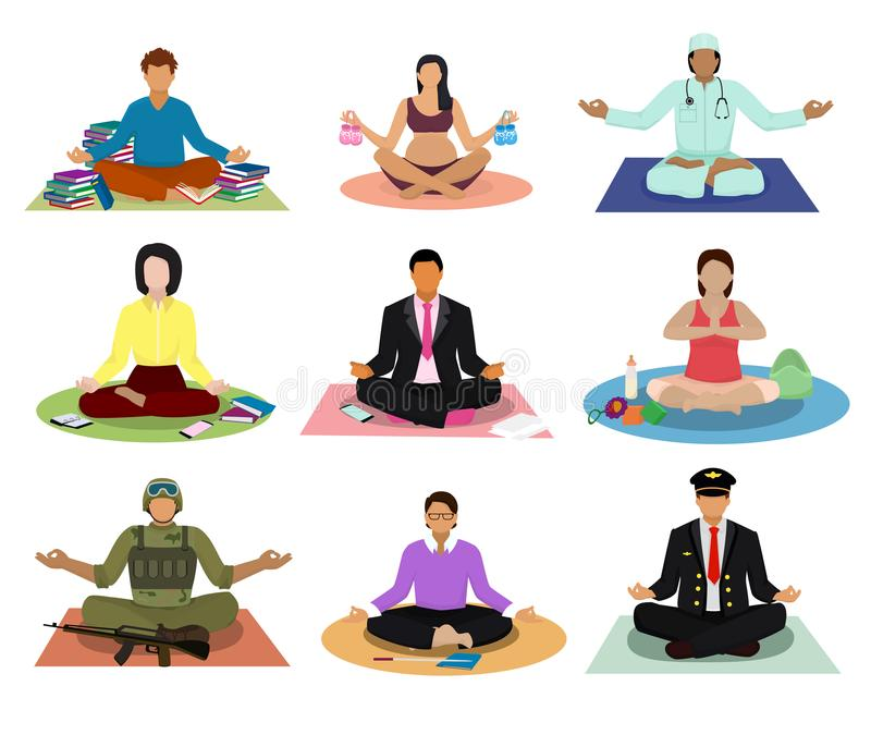 Meditation vector meditating people practice yoga and characters of pregnant woman or businessman meditate in lotus royalty free illustration