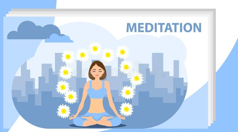 Meditation. A woman is meditating in lotus position against the backdrop of the cityscape. Vector illustration stock images