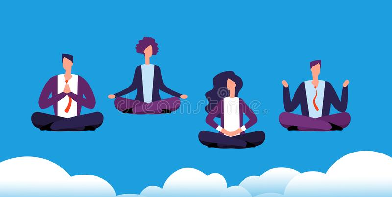 Meditation yoga group. Business team relaxing and meditating in lotus pose. Office workers avoid stress. Vector concept vector illustration