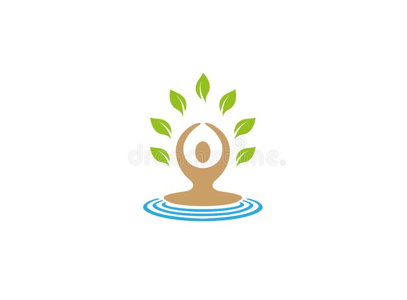 Meditation and yoga for health Green leaf for logo. Esign illustration vector illustration