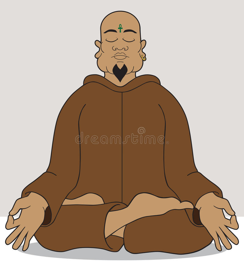 Meditation. Yoga master attempting to achieve enlightenment through meditation vector illustration