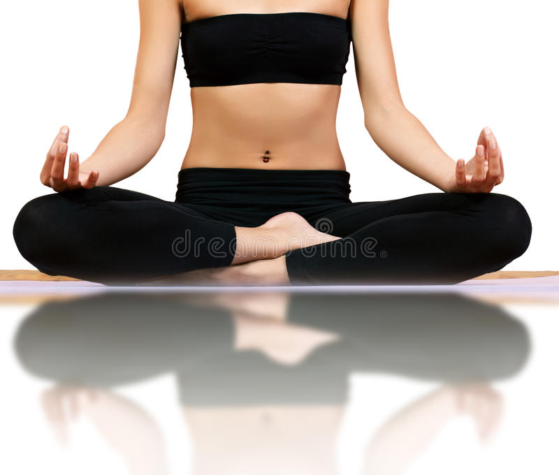 Meditation yoga pose. Woman body in meditation yoga pose royalty free stock photos
