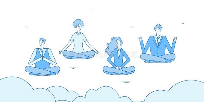 Meditationaffärsmän Folket kopplar av i zenyogalotusblomma som i regeringsställning placerar Anställda undviker spänningsvektorbe royaltyfri illustrationer