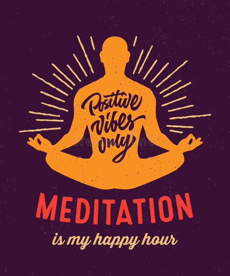 Meditationen är min t-skjortan för den lyckliga timmen design royaltyfri bild