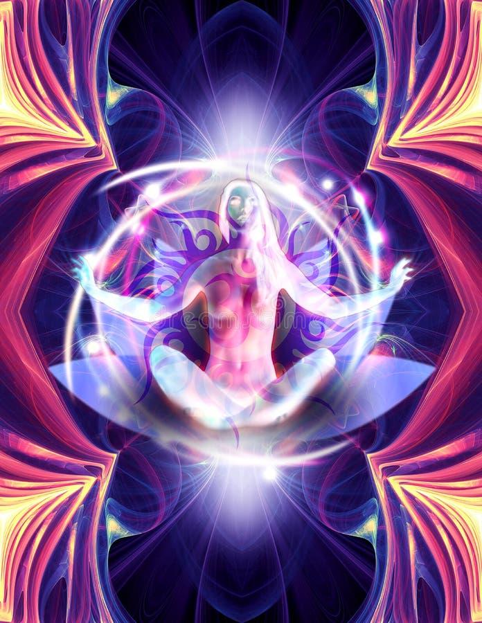 Meditationillustration vektor illustrationer
