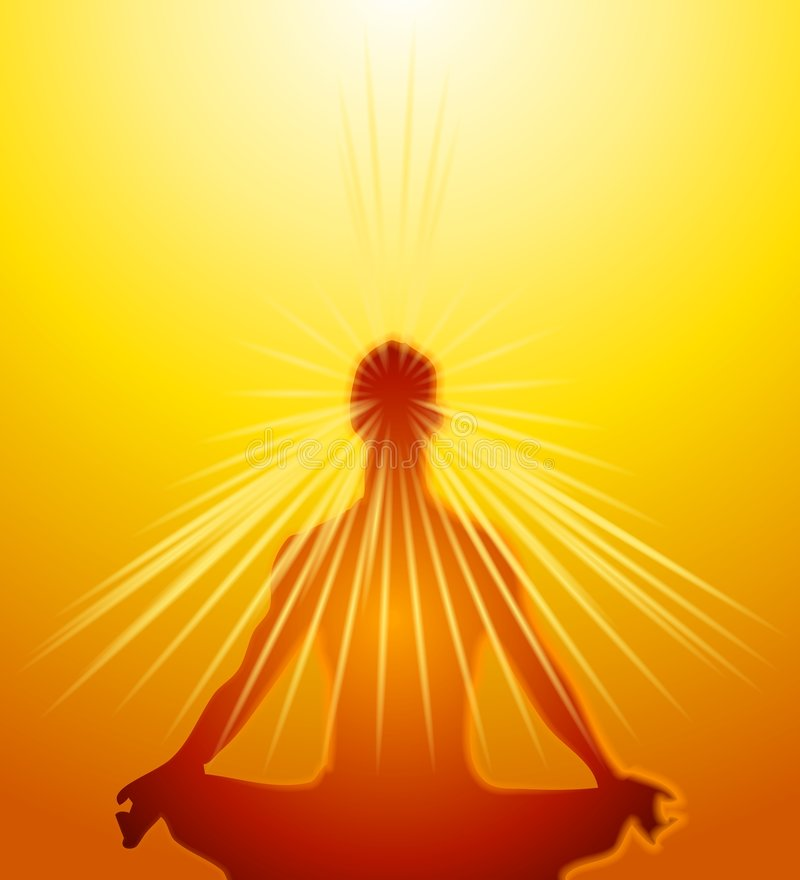 meditationmeningen driver psykiskt royaltyfri illustrationer