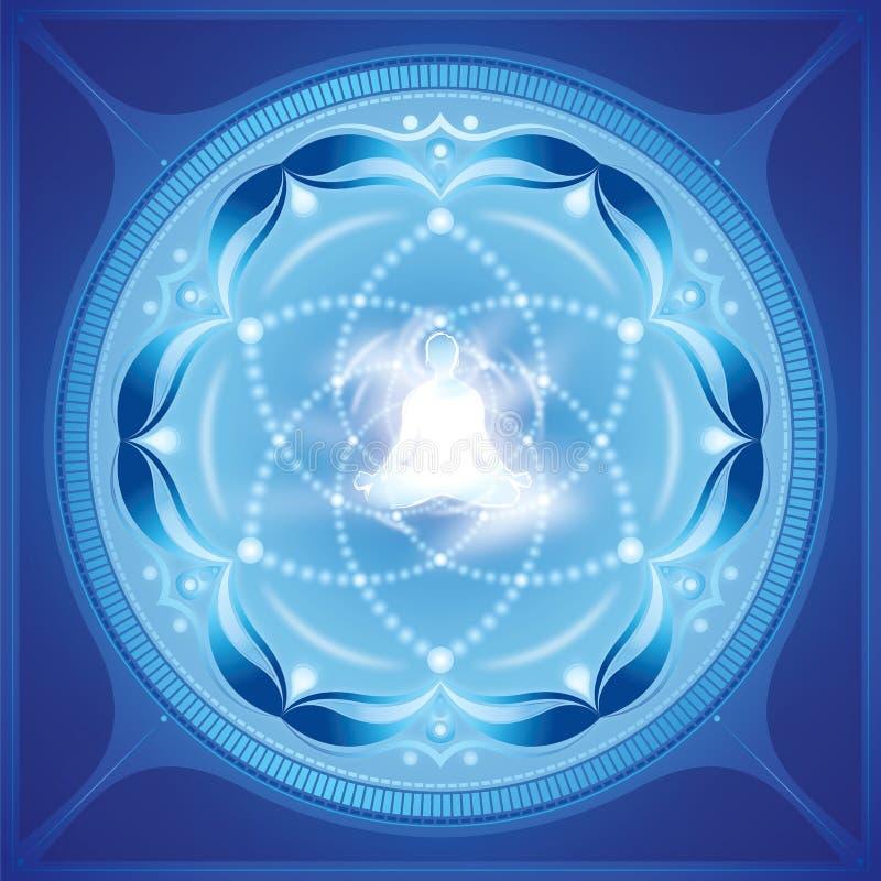 Meditationnegro spiritualkonst stock illustrationer