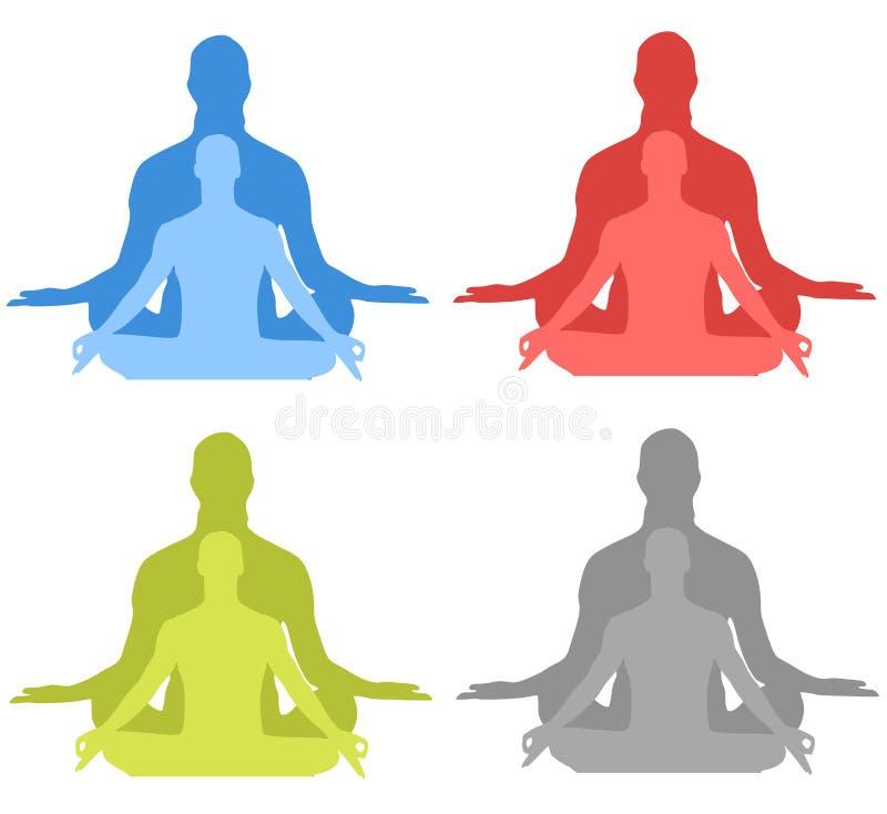 meditationsilhouettes stock illustrationer