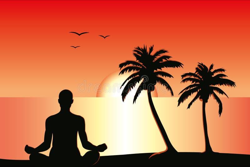 meditationsolnedgång stock illustrationer