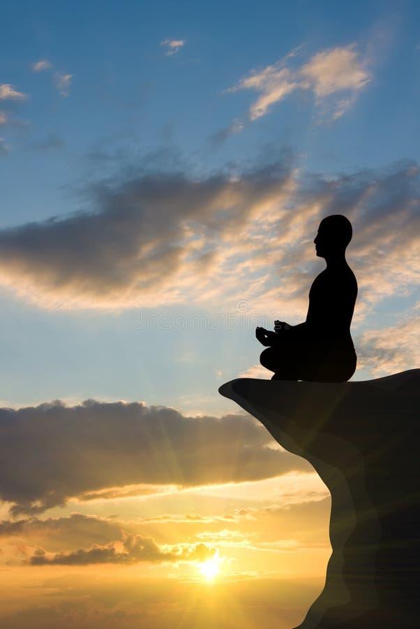 meditationsolnedgång arkivbilder